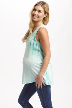 Mint-Green-Tie-Dye-Printed-Maternity-Tank-Top