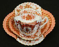 RARE WILEMAN SHELLEY ART NOUVEAU IMARI TEA CUP SAUCER PLATE TRIO SET c.1890
