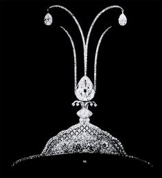 In the Belle Epoque, c. 1913, aigrette tiaras became the rage in women's fashion. They were inspired by the egret feathers and jewels that Ottoman emperors wore on their turbans. Cartier used this as inspiration to make aigrette tiaras such as this one.