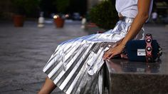 How to Style a Metallic Pleated Skirt