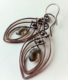 Smokey quartz and copper wire