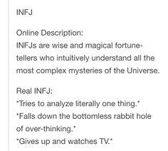 INFJ, online descriptions vs real life