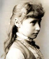 "Princess Alix of Hesse  Daughter of Princess Alice and Granddaughter of Queen Victoria of The United Kingdom - at the age of 12  Later her name was changed when she converted from her Lutheran faith to the Russian Orthodox faith to marry Nicholas.  In her life she had the nickname of ""Sunny."""
