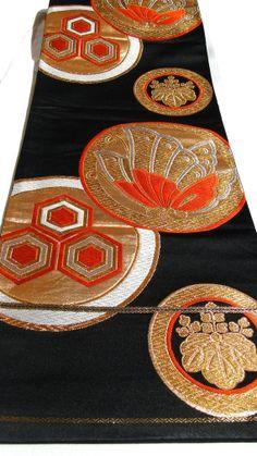 Vintage Japanese Obi. Table Runner. Wall Hanging. Gold Black Orange Geometric Multi Woven Silk Brocade Textile (Ref: 500)