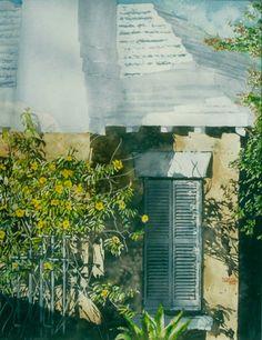 "allamanda hopelesly drawn toward evening, bda 26"" x 20"" micheal zarowsky / watercolour on arches paper / (private collection)"