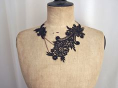 Magnolia black lace necklace by StitchFromTheHeart on Etsy, $30.00