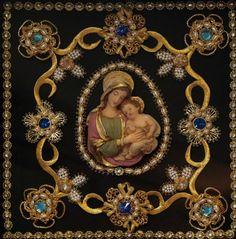 Imagem relacionada Madonna Images, Monastery Icons, Meditation Space, Religious Icons, Christian Quotes, Christianity, Folk Art, Decoupage, Miniatures