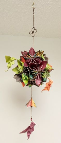 Origami Flower Hanging Decor with Hummingbirds by StellarOrigami