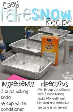 Easy to make fake snow. Perfect for a Snow themed Stem day!