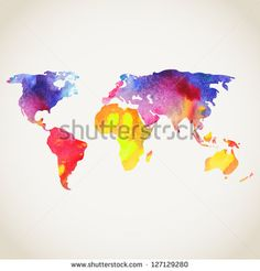 World vector map painted with watercolors, painted world map on white background.