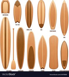 Wooden surfboards isolated on white Royalty Free Vector , Wooden Surfboard, Surfboard Art, Skateboard Art, Canoes, Kayaks, Tahiti, Model Boat Plans, Surf Design, Hawaii Surf