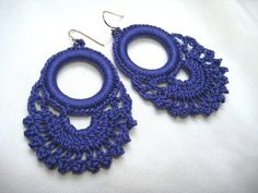 INSPIRATION - Persephone Lace Hoop Earrings - periwinkle