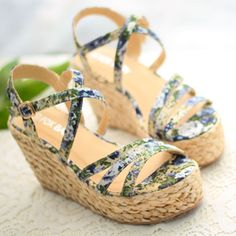 Boho Floral Print Braided Wedge Heel Platform Sandal [grzxy61900391] on Luulla