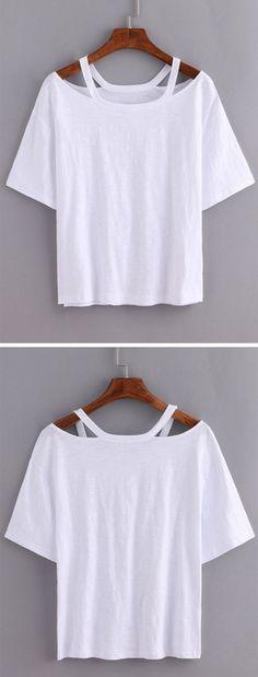 Cutout Loose-Fit White T-shirt - red shirts for mens, mens green denim shirt, burgundy button down shirt *sponsored https://www.pinterest.com/shirts_shirt/ https://www.pinterest.com/explore/shirt/ https://www.pinterest.com/shirts_shirt/shirts/ http://www.versace.com/us/en-us/men/clothing/shirts/