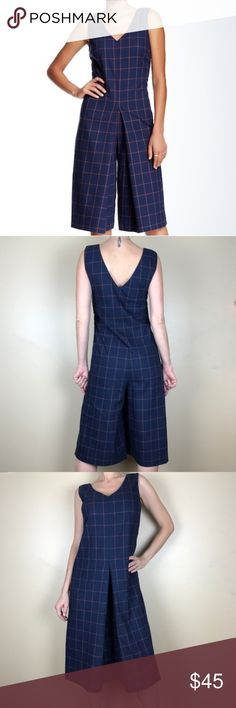"""Plaid jumpsuit Romeo and juliet couture jumpsuit  This plaid culoette jumpsuit make on-trend dressing simple.  - Front and back V-neck - Sleeveless - Hidden side zip closure - Allover plaid - Approx. 21"""" rise, 15"""" inseam (size S) - Imported  Fiber Content  97% polyester, 3% spandex  Care  Hand wash cold Romeo & Juliet Couture Pants Jumpsuits & Rompers"""