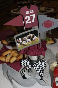 AHS football banquet centerpieces Team colors are maroon and gray.used cans without covering and cut maroon napkins for filling. Cricut for cutouts. Cheer Banquet, Football Banquet, Football Cheer, Football Birthday, Football Moms, Football Homecoming, Football Decor, Football Spirit, Football Parties