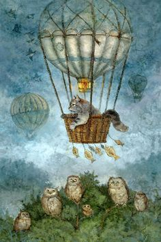Cat and Owl art - beautiful