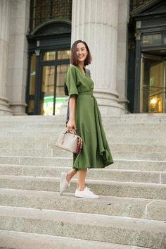 #ChriselleLim forest green wrap dress. NYC
