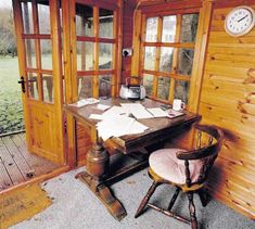 Writing space-- it's a table and a chair and a mind space. (work desk of Louis de Bernieres) Writers Desk, Writers Write, Shed Office, Writing Studio, A Writer's Life, Workspace Inspiration, Home Libraries, Virginia Woolf, The Guardian