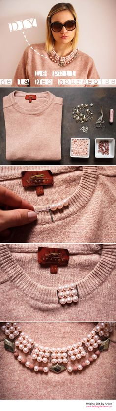 Ideas for old clothes * ღ :: Diy Fashion, Ideias Fashion, Womens Fashion, Fashion Design, Fashion Shirts, Sweater Fashion, Old Clothes, Sewing Clothes, Sewing Hacks