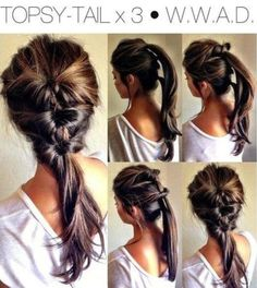 3 inverted ponytails for a quick hairstyle