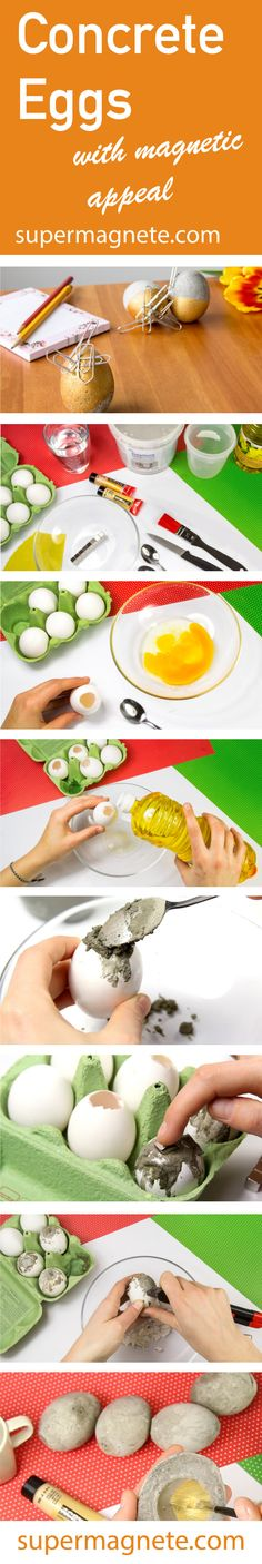 Attractive Easter DIY: Concrete eggs with magnets! Attracts paper clips and much more. Diy Concrete, Paper Clip, Magnets, Eggs, Easter, Easter Activities, Egg, Egg As Food