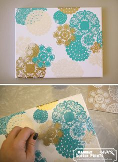 DIY Doily Canvas Art.