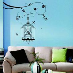 Wohntrends Blaue Wand Beiges Sofa Wandtattoo