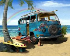 Volkswagen VW Hippie Flower Van Surf Beach Cruiser. Yes please! I would pack my family in that sucker and live in it all summer long! DREAM!