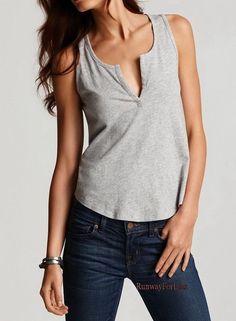 New $85 VINCE Womens Misses Medium Split Neck Heather Gray Grey Linen Tank Top #Vince #TankCami #Casual