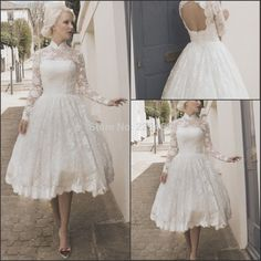 Free Shipping Ivory 2014 New vestido de noiva  High neck Cap Sleeve Vintage Short Lace Open Back Tea Length Wedding Dress-in Wedding Dresses from Weddings & Events on Aliexpress.com | Alibaba Group