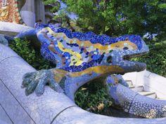 Gaudi Architecture, Parc Guell, Unesco World Heritage Site, Catalunya (Catalonia) (Cataluna), Spain Photographic Print
