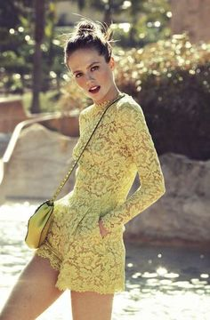 Yellow Lace Romper # Trends Of Summer Apparel Lace Romper Yellow Romper Must-Have Romper 2015 Romper Where To Get Romper How To Style Style Désinvolte Chic, My Style, Minimalist Outfit, Mode Shorts, Summer Outfits, Cute Outfits, Fall Outfits, Lace Outfit, Yellow Lace