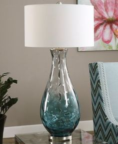 One Light Table Lamp Translucent Blue Ombre Water Glass Accented With Plated Brushed Nickel Details. The Round Hardback Drum Shade Is An Ivory Linen Fabric. Buffet Lamps, Cool Table Lamps, Water Glass, Clear Glass, Bedroom Lamps, Bird Bedroom, Master Bedroom, Cool Ideas, Drum Shade