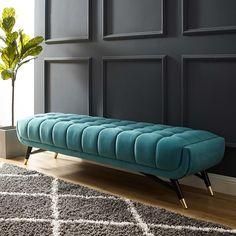 Bench Furniture, Modern Furniture, Furniture Design, Painted Furniture, Furniture Ideas, Living Room Bench, Living Room Decor, Bedroom Benches, Interiores Art Deco