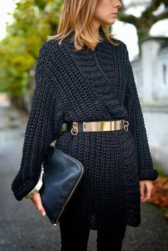 Latest fashion trends: Street style | Oversize crochet sweater and golden belt