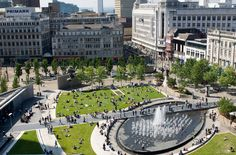 Piccadilly Gardens, Manchester, UK.  Good urban space with interactive water feature