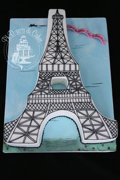 An engagement cake for a couple getting married in Paris.