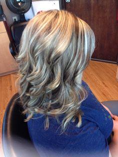Blonde highlights/ brown lowlights curls