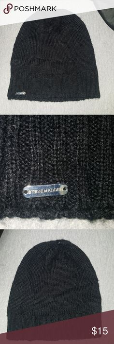 New Steve Madden Slouch Beanie Brand new (no tags) All plain black slouch hat. Made by Steve Madden. One size fits all. Received as a present but not really my style. Excellent condition. Had since Xmas. No snags or anything. Steve Madden Accessories Hats