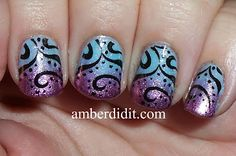 Gradient manicure, purple and blue, black stamp. Lovely!