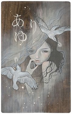 Audrey Kawasaki- one of my faves. Her art features mostly girls with bedroom eyes, often juxtaposed with strange props. Oil on wood, always allowing the wood grain to peek through