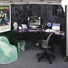 Cool office Cubicles - Office Spaces Amazing Cubicles with Modern Style. Home Office, Office Cube, Office Decor, Office Ideas, Dorm Ideas, Office Chairs, Office Cubicle Design, Work Cubicle, Office Cubicle Organization