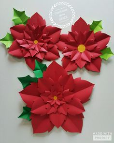 Made these for the office as Christmas decorations Crepe Paper Flowers Tutorial, Paper Flowers Craft, Large Paper Flowers, Paper Flower Backdrop, Paper Roses, Flower Crafts, Diy Flowers, Paper Crafts, Paper Flower Patterns