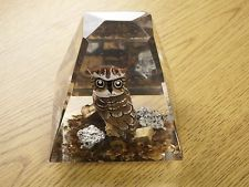 Vintage Lucite Acrylic Handcarved Wood Owl Paperweight
