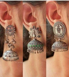 Silver jewelry Hand Made Ideas - Silver jewelry Earrings Simple - - Silver jewelry Hand Made Inspiration Indian Jewelry Earrings, Silver Jewellery Indian, Jewelry Design Earrings, Antique Earrings, Fashion Earrings, Silver Jewelry, Silver Ring, Silver Earrings, Silver Pendants