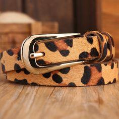 2366eaedce32 13.31  Cheval cheveux sexy imprimé léopard sauvage mince ceintures pour  femmes nouveau 2017 marque en cuir véritable mode ceinture femelle robe  sangle ...