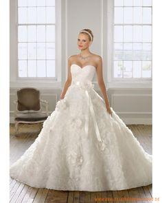 2013 Romantisches Brautkleid aus Organza und Satin verzierte Korsage Applikation auf dem Ballrock