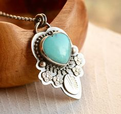 Turquoise Heart Necklace Detailed Silver by EONDesignJewelry