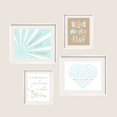 Somewhere Over The Rainbow in Mist and Taupe/ Boy or Girl Nursery Art Prints 11x14 and 8x10 by YassisPlace on Etsy, $89.99